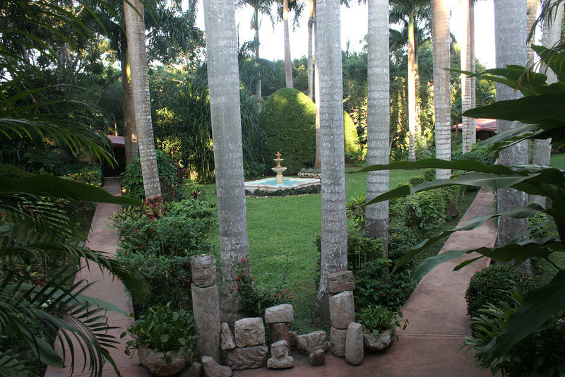 The dining room looks out over part of the extensive gardens.