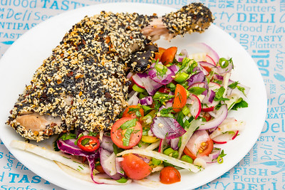 Tuesday dinner. Poppy and sesame seed crusted Chicken Maryland with fennel and tomato lime salad.