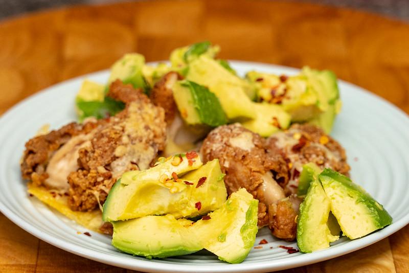 Saturday lunch. Leftover cheesy KFC with avocado.