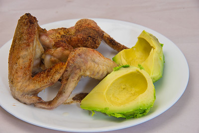 Chicken wings and avocado