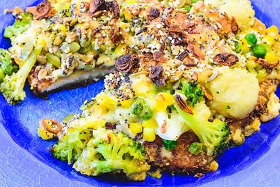 Thursday dinner. Chicken schnitzel pie with creamy cheesy vegetables.