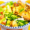 Roast chicken and potato with salad