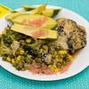 Wednesday dinner. Cheesy Vegemite chicken thigh with finger lime, avocado and vegetable bake.