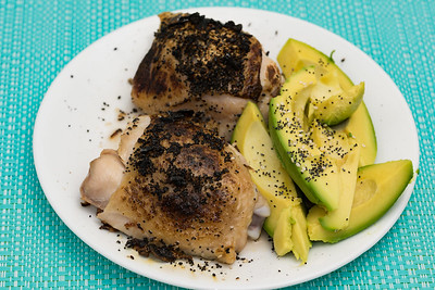 Wednesday dinner. Chicken thighs and avocado