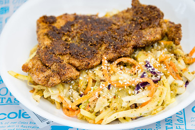 Spicy nut crusted chicken breast and cheesy cream stir-fried salad