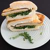 Chicken schnitzel and kale sandwich