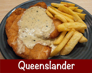 Wednesday lunch. Chicken Schnitzel with pepper sauce and hot chips.