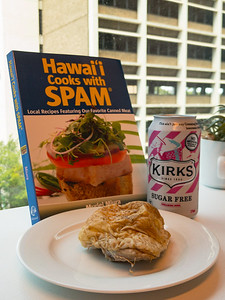 Thursday lunch. Leftover chicken thigh with sugar-free creaming soda, while reading my Hawaiian Spam cookbook.