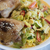 Chicken thighs and creamy spicy stir-fried cabbage salad