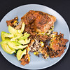 Chicken Maryland with quinoa rice onions and avocado