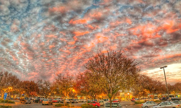 Sunset over parking lot Chico California.