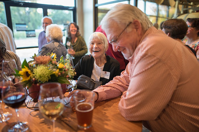 Ruth Hetherington (left) enjoys the Chico Chapter Fall Mixer at Almendra Winery on Saturday, October 14, 2017 in Chico, Calif.  (Jessica Bartlett/University Photographer)