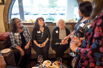 (From left to right) Pat Petersen, Jana Sanford, and Roxanne Ferry enjoy the Chico Chapter Fall Mixer at Almendra Winery on Saturday, October 14, 2017 in Chico, Calif.  (Jessica Bartlett/University Photographer)