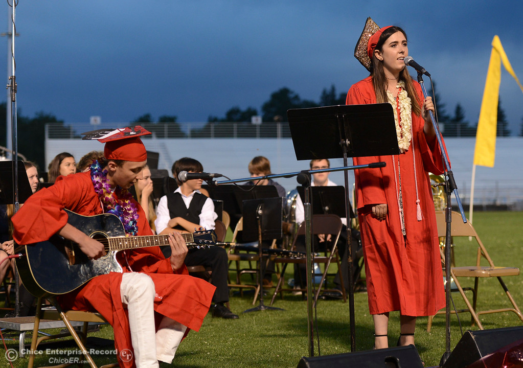 . Julian Gabbard accompanies Echo Smith as she sings for the Chico High School graduation Wednesday, June 7, 2017, at University Stadium in Chico, California. (Dan Reidel -- Enterprise-Record)