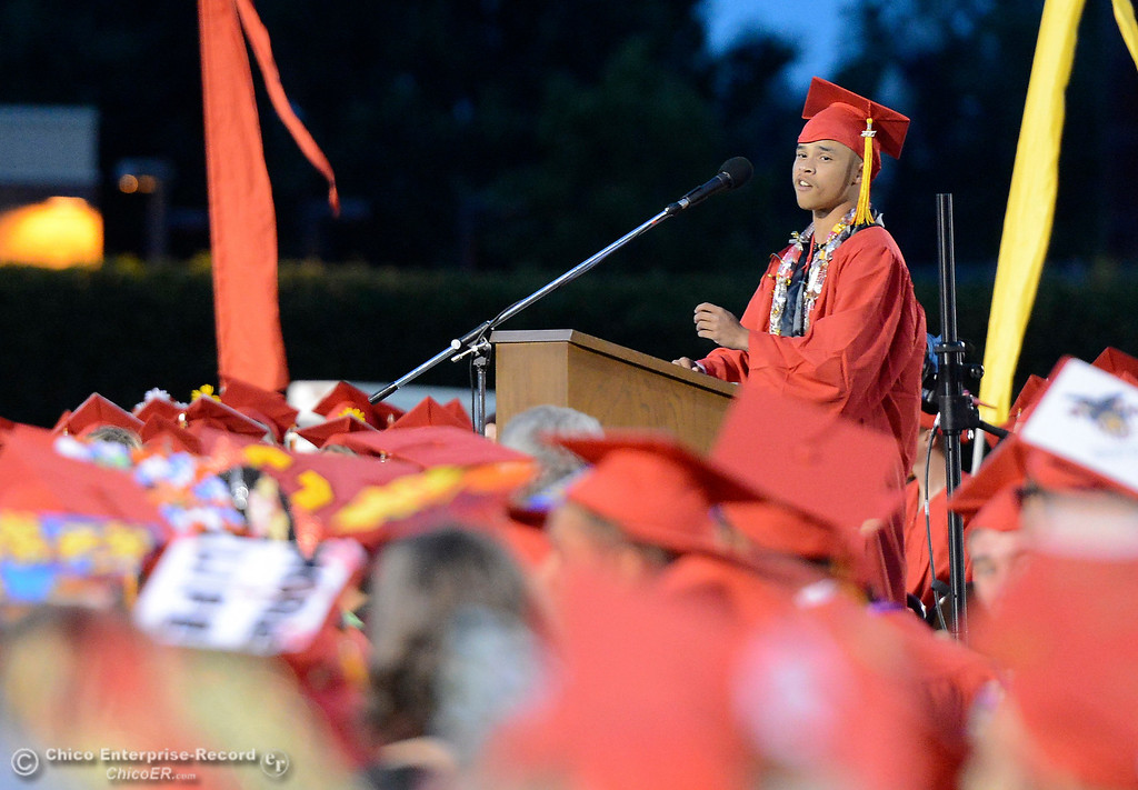 . Caine Guster speaks to his classmates as seniors from Chico High School graduate Wednesday, June 7, 2017, at University Stadium in Chico, California. (Dan Reidel -- Enterprise-Record)