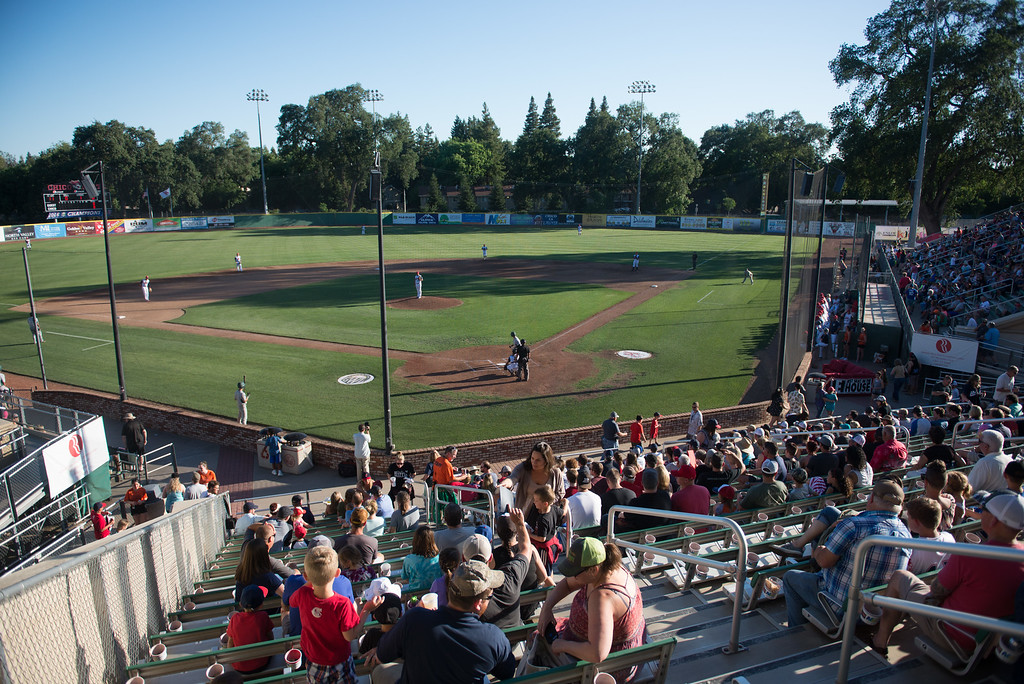 . Nettleton Stadium is filled with fans during the Chico Heat home opener against Klamath Falls Gems, June 1, 2018,  in Chico, California. (Carin Dorghalli -- Enterprise-Record)