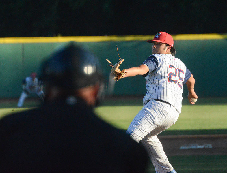 Ryan Sanchez pitches the ball during the Chico Heat home opener against Klamath Falls Gems, June 1, 2018,  in Chico, California. (Carin Dorghalli -- Enterprise-Record)