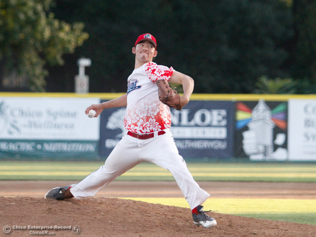 . Chico Heat\'s Jack Ralston pitches against the Medford Rogues on the second night of a three night series Friday July 14, 2017 in Chico, California.  (Emily Bertolino -- Enterprise-Record)