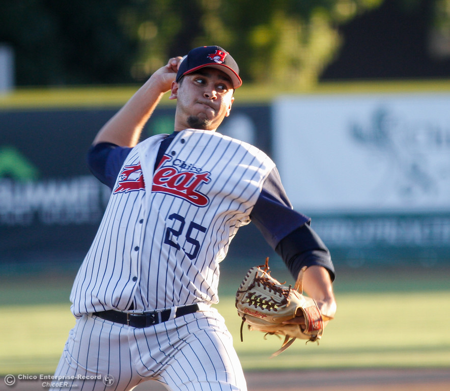 . Chico Heat\'s Ryan Sanchez pitches against the Medford Rogues July 13, 2017 at Nettleton Stadium in Chico, California.  (Emily Bertolino -- Enterprise-Record)