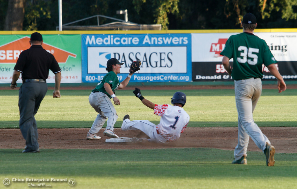 . The Chico Heat host the Medford Rogues on the second night of a three night series Friday July 14, 2017 in Chico, California.  (Emily Bertolino -- Enterprise-Record)