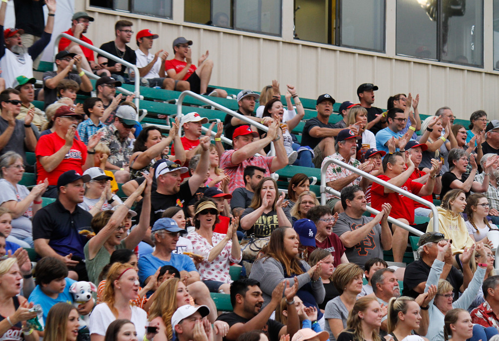 . The crowd goes wild after an impressive double play by Chico Heat\'s defense during the home opener against the Portland Pickles May 30, 2017 at Nettleton Stadium in Chico, California. (Emily Bertolino -- Enterprise-Record)