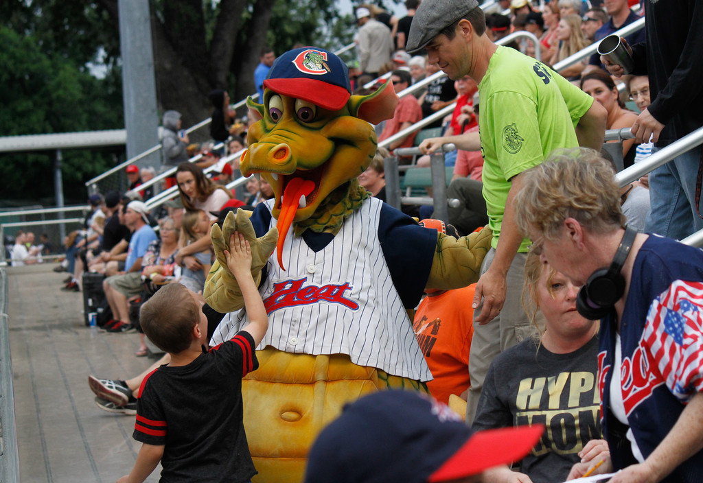 . Heater walks around high-fiving and having his picture taken with kids during the Chico Heat home opener game against the Portland Pickles May 30, 2017 at Nettleton Stadium in Chico, California. (Emily Bertolino -- Enterprise-Record)