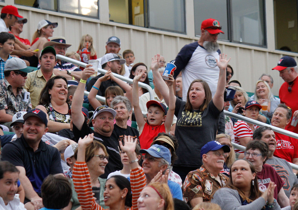 . The crowd cheers in hopes of winning a free pizza during the Chico Heat home opener against the Portland Pickles May 30, 2017 at Nettleton Stadium in Chico, California. (Emily Bertolino -- Enterprise-Record)