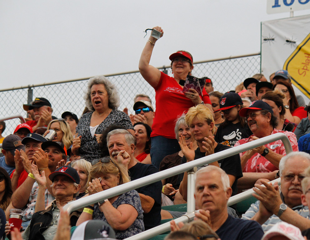 . The crowd goes wild as Chico Heat\'s offense makes a good play during the home opener against the Portland Pickles May 30, 2017 at Nettleton Stadium in Chico, California. (Emily Bertolino -- Enterprise-Record)