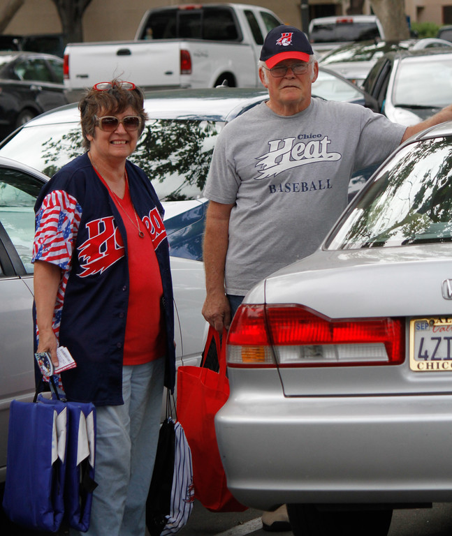 . Suzy and Mike Campbell show up early to get good seats for the Chico Heat home opener against the Portland Pickles May 30, 2017 at Nettleton Stadium in Chico, California. (Emily Bertolino -- Enterprise-Record)