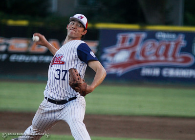 Chico Heat's pitcher Jack Ralston steps up against the Lincoln Potters in a playoff game Tuesday August 8, 2017 at Nettleton Stadium in Chico, California. (Emily Bertolino -- Enterprise- Record)
