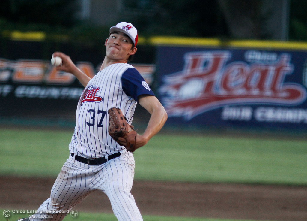 . Chico Heat\'s pitcher Jack Ralston steps up against the Lincoln Potters in a playoff game Tuesday August 8, 2017 at Nettleton Stadium in Chico, California. (Emily Bertolino -- Enterprise- Record)