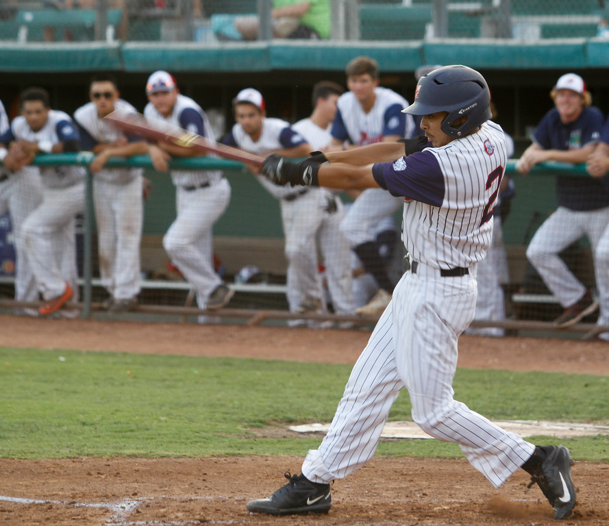 . Chico Heat\'s Eric Robles knocks one down right field against the Marysville Gold Sox on the third night of a three game series Saturday August 5, 2017 at Nettleton Stadium in Chico, California. (Emily Bertolino -- Enterprise- Record)