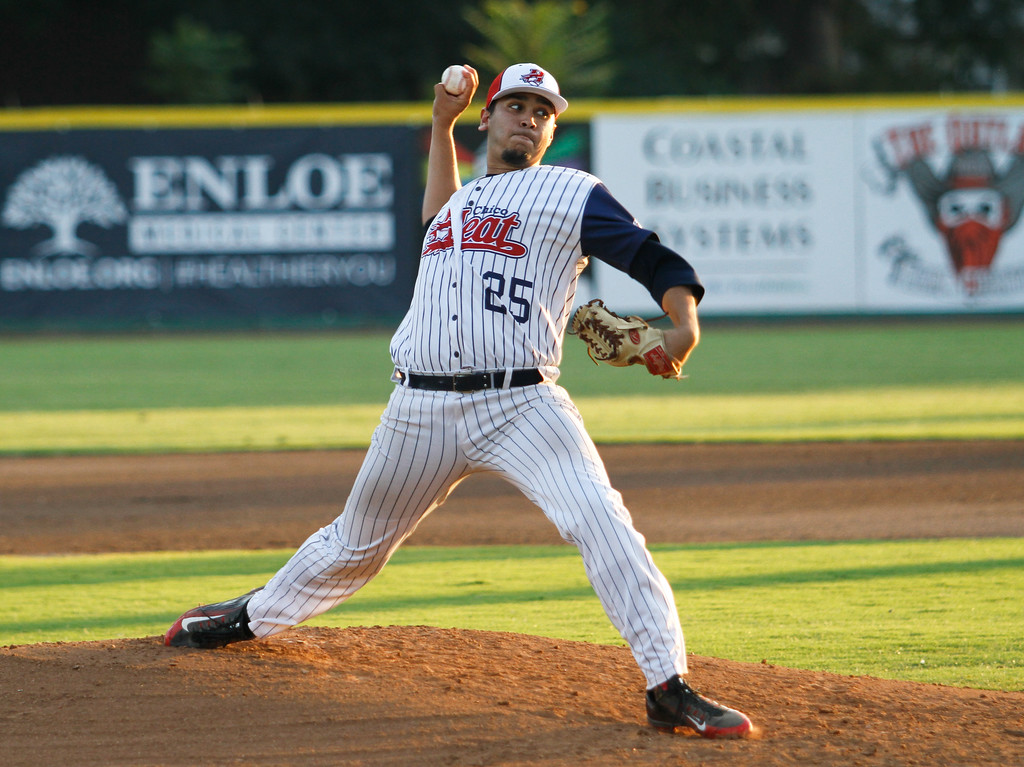 . Chico Heat\'s Ryan Sanchez starts off the game pitching against the Marysville Gold Sox on the third night of a three game series Saturday August 5, 2017 at Nettleton Stadium in Chico, California. (Emily Bertolino -- Enterprise- Record)