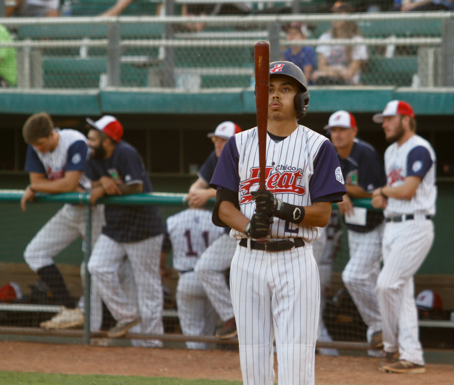 . Chico Heat\'s Eric Robles steps up to bat against the Marysville Gold Sox on the third night of a three game series Saturday August 5, 2017 at Nettleton Stadium in Chico, California. (Emily Bertolino -- Enterprise- Record)
