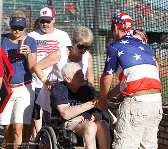 Tucker Stimac shacks hands with Steve Nettleton as the Chico Heat hosts the Marysville GoldSox July 4, 2017 at Nettleton Stadium in Chico, California.  (Emily Bertolino -- Enterprise-Record)