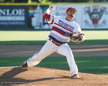 Chico Heat's pitcher Brian Coffey pitches against the Marysville GoldSox July 4, 2017 at Nettleton Stadium in Chico, California.  (Emily Bertolino -- Enterprise-Record)