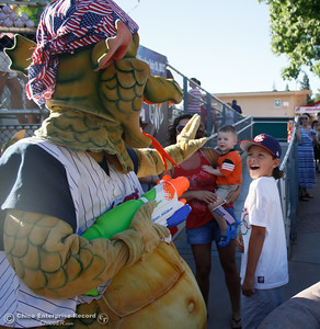 Heater greets baseball fans as the Chico Heat gets ready to play the Marysville GoldSox July 4, 2017 at Nettleton Stadium in Chico, California.  (Emily Bertolino -- Enterprise-Record)
