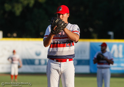 Chico Heat's Brian Coffey pitches against the Yuba City Bears Tuesday July 18, 2017 at Nettleton Stadium in Chico, California.  (Emily Bertolino -- Enterprise-Record)