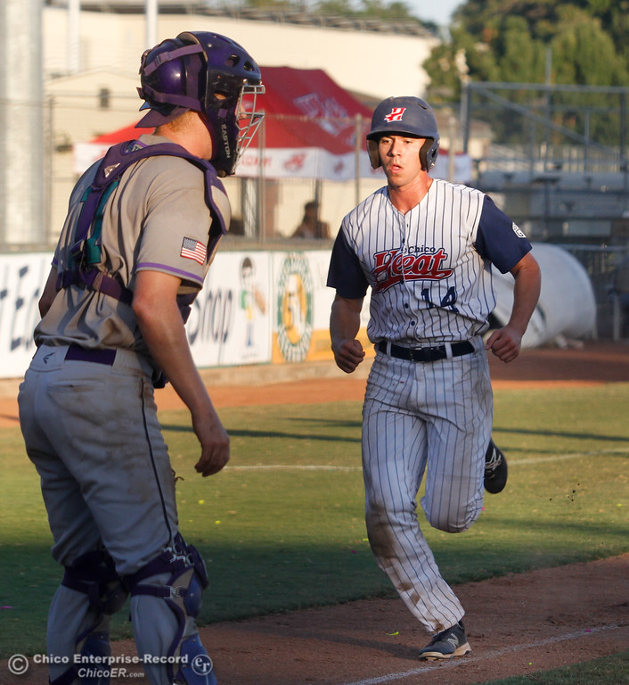 . Chico Heat\'s Garrett Kelly runs into home during a baseball game against the Yuba City Bear Wednesday July 19, 2017 at Nettleton Stadium  in Chico, California.  (Emily Bertolino -- Enterprise-Record)