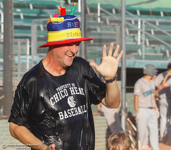 Chico Heat's general manager Hunter Hampton celebrates his birthday as the Heat hosts the Yuba City Bears baseball Wednesday July 19, 2017 at Nettleton Stadium  in Chico, California.  (Emily Bertolino -- Enterprise-Record)