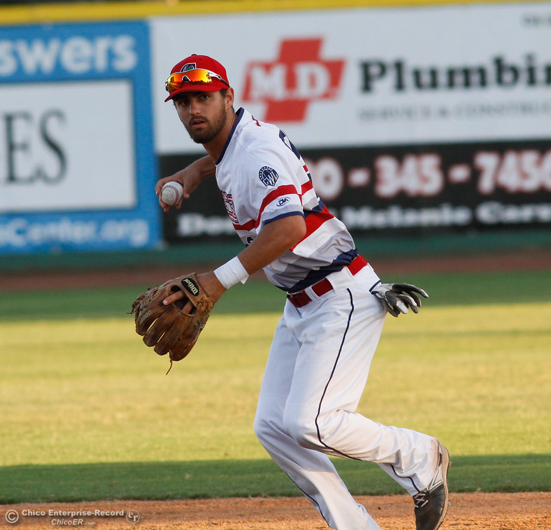 . Chico Heat\'s second baseman Jack Walsh throws to first for an easy out against the Yuba City Bears Tuesday July 18, 2017 at Nettleton Stadium in Chico, California.  (Emily Bertolino -- Enterprise-Record)