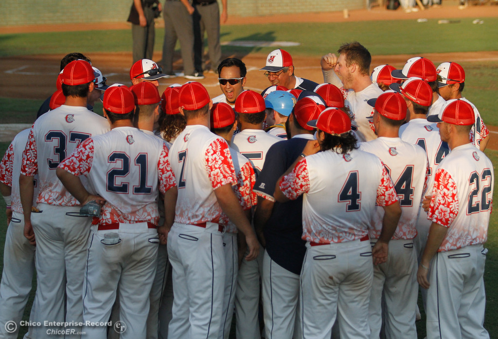 . The Chico Heat gets pumped before the first game of the Great West League championship series against the Medford Rogues August 11, 2017 at Nettleton Stadium in Chico, California. (Emily Bertolino -- Enterprise- Record)