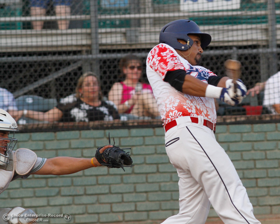 . Chico Heat\'s Marcus Wilhite rockets a triple to the center field wall bring the Heats 3-2 over the Medford Rogues in the first game of the Great West League championship series August 11, 2017 at Nettleton Stadium in Chico, California. (Emily Bertolino -- Enterprise- Record)