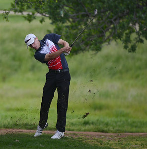 Chico High's Brayden Russo golfs, April 12, 2018, in Chico, California. (Carin Dorghalli -- Enterprise-Record)