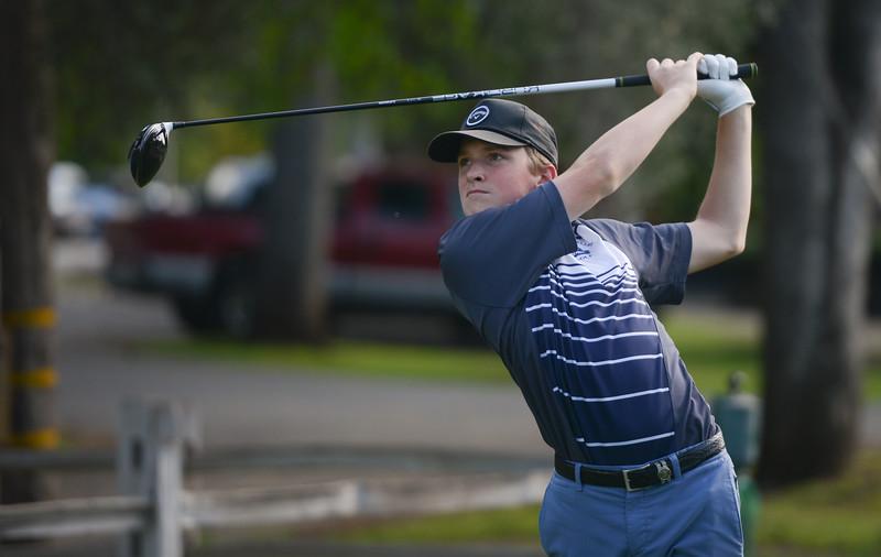 Pleasant Valley High's Chase Fleshman golf, April 12, 2018, in Chico, California. (Carin Dorghalli -- Enterprise-Record)
