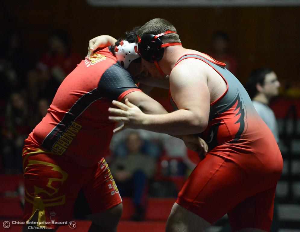 . Chico\'s Arturo Cardenas wrestles Corning\'s Anthony Ortega in the 285 weight class Wednesday November 29, 2017 in Corning, California. (Emily Bertolino -- Enterprise-Record)