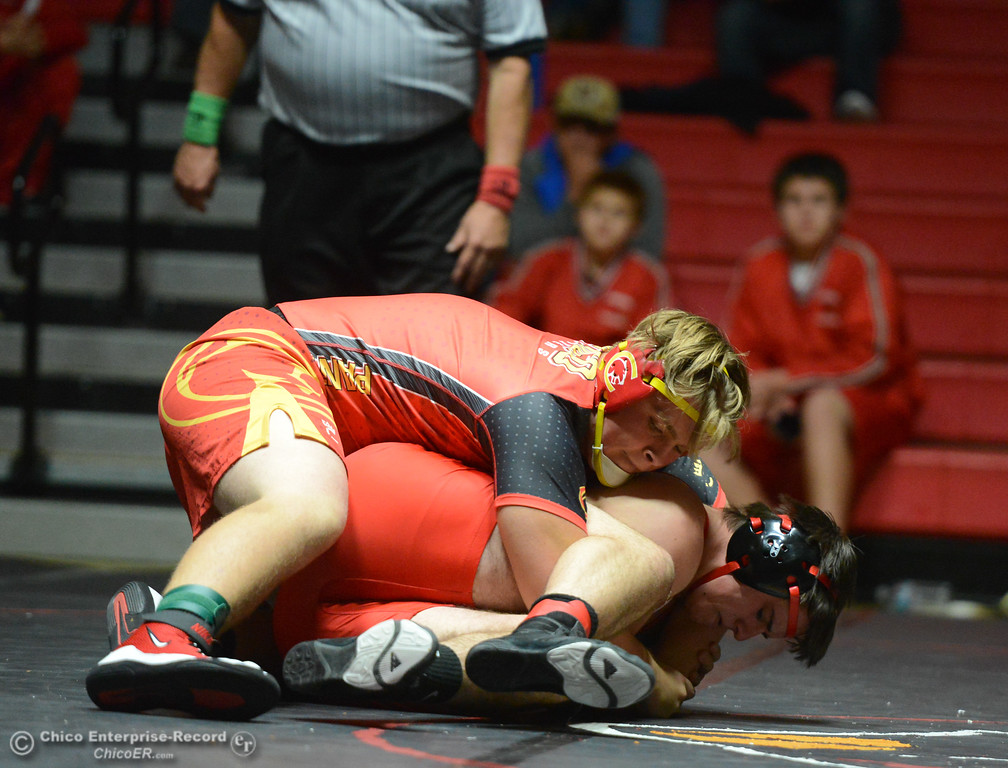 . Chico\'s Ben Allen wrestles Corning\'s Jarred Darrow in the 220 weight class Wednesday November 29, 2017 in Corning, California. (Emily Bertolino -- Enterprise-Record)