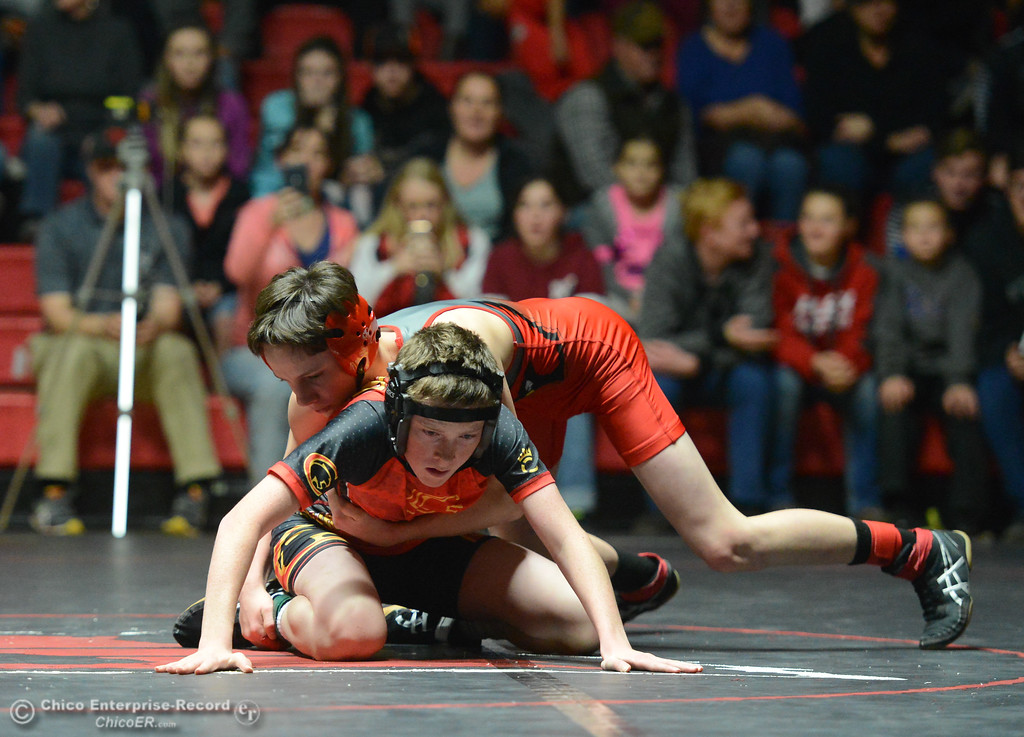 . Corning\'s Anthony McKenzie wrestles Chico\'s Spencer Freeze-Holleman in the 106 weight class Wednesday November 29, 2017 in Corning, California. (Emily Bertolino -- Enterprise-Record)