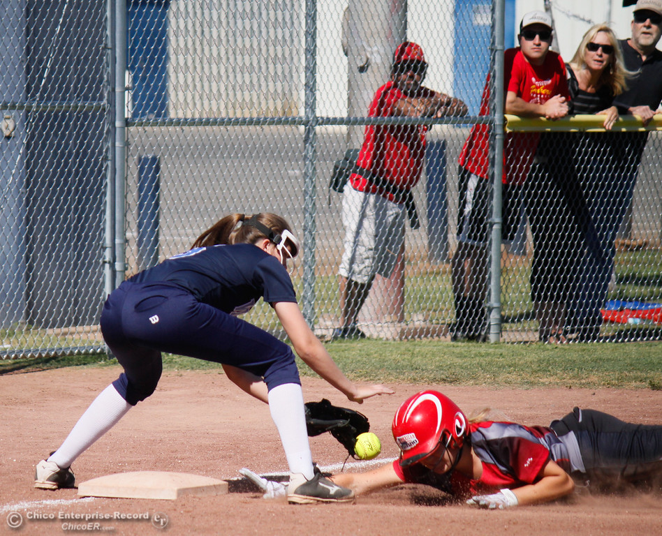 . Chico High\'s Marissa Woolsey beats Pleasant Valley\'s Cheyenne Wilson to the bag during  the  Northern Section Division II championship softball game Wednesday May 17, 2017 in Chico California, California. Chico High goes on to win the NSCIF title 11-6 over Pleasant Valley.  (Emily Bertolino -- Enterprise-Record)