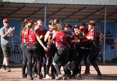 Chico High celebrates an 11-6 win over Pleasant Valley in the  Northern Section Division II championship softball game Wednesday May 17, 2017 in Chico California, California. Chico High goes on to win the NSCIF title 11-6 over Pleasant Valley.  (Emily Bertolino -- Enterprise-Record)